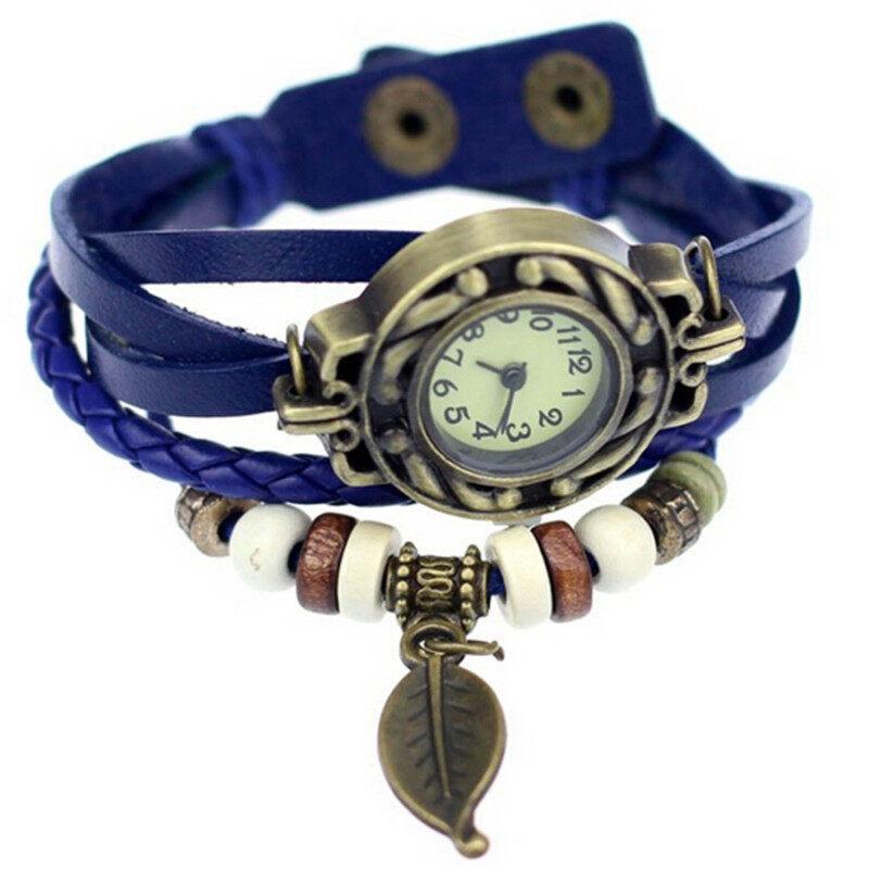 Vococal Vintage Style Special Women Lady Gift PU  Leather Quartz Analog Wrist Bracelet Bangle Watch Wristwatch With Leaves Shape Pendant Dark Blue Malaysia
