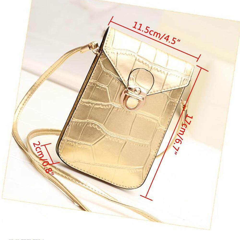 Wedzwe Mewah Imitasi Buaya Garis Kulit PU Kulit Mini Crossbody Single Shoulder Hand Bag Cellphone untuk