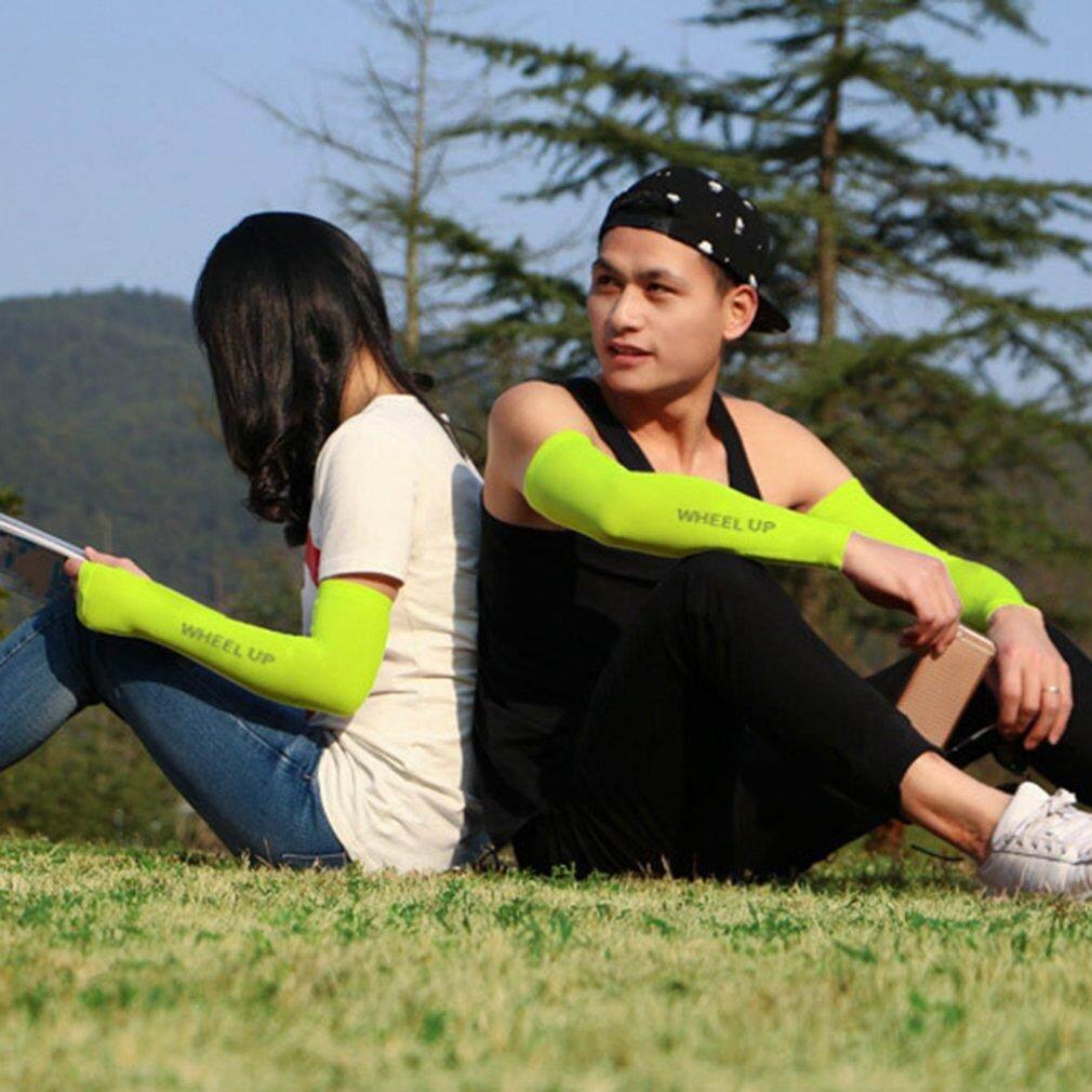 Roda Hingga Sunscreen Bersepeda Lengan Lengan Bernapas Polos Sehelai Kain Di Atas Lengan untuk Mengendarai Hijau-Internasional
