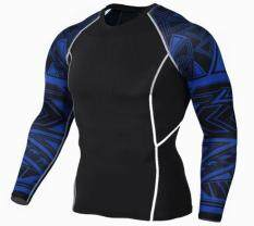 Europe And The United States Sports Mens Long-Sleeved T-Shirt Snake-Speed Dry Clothes Fitness Clothes Basketball Running Fitness Clothes Stretch Training Compression Clothing (black) By Tafqcsl
