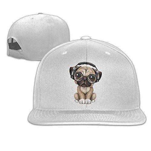 Williamkl Lucu Anak Anjing Pug DJ Pakai Headphone Snapback Plakat Datar Dapat Disesuaikan Topi Golf Hitam-Intl