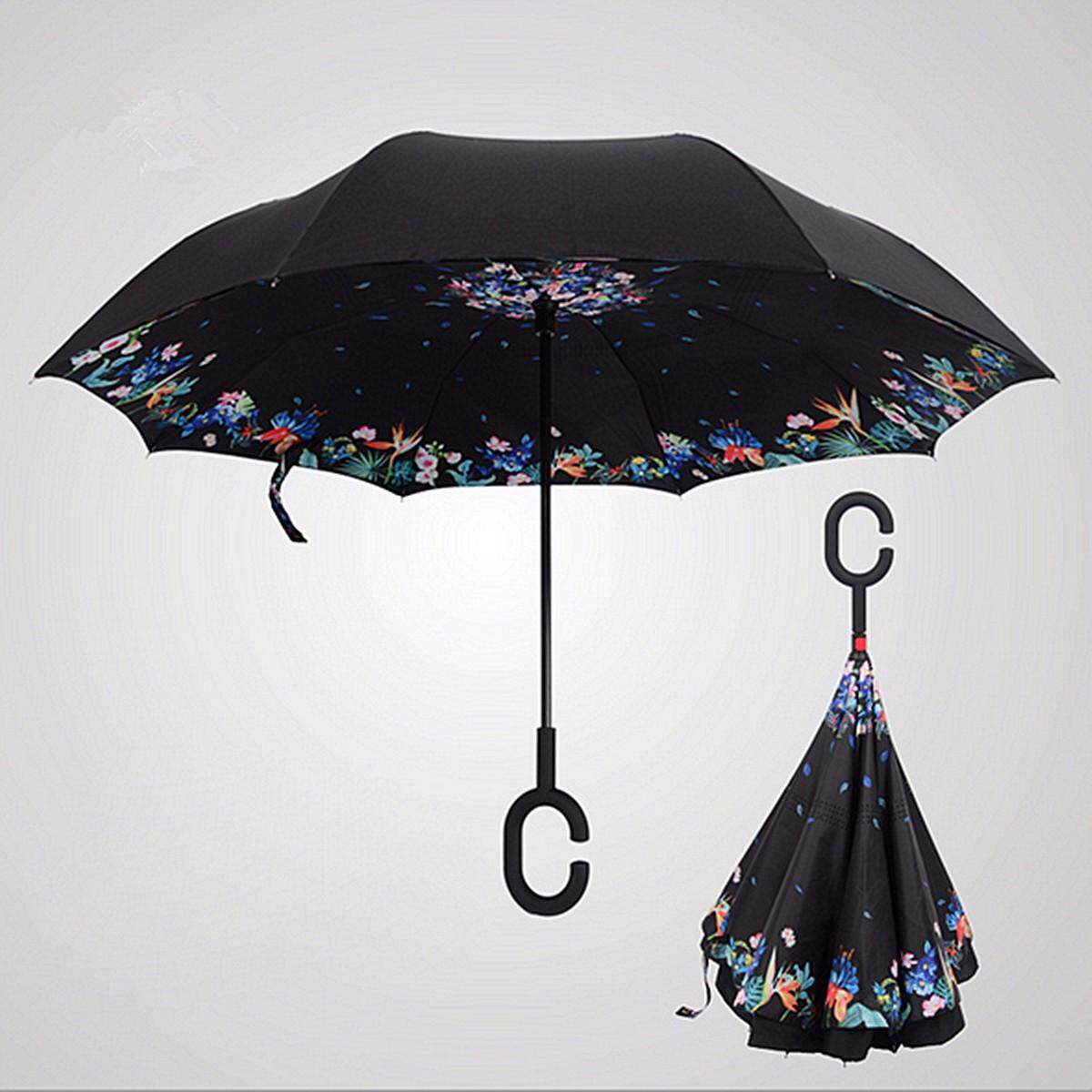 Windproof Upside Down Reverse Umbrella C-Handle Double Layer Inside-Out Inverted - Intl By Audew.
