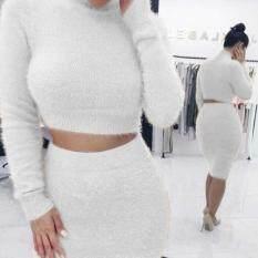 MYR 37. Winter 2 Pieces Sweater Dress Set Women Long Sleeve Wear Casual Pullover Knitted ...