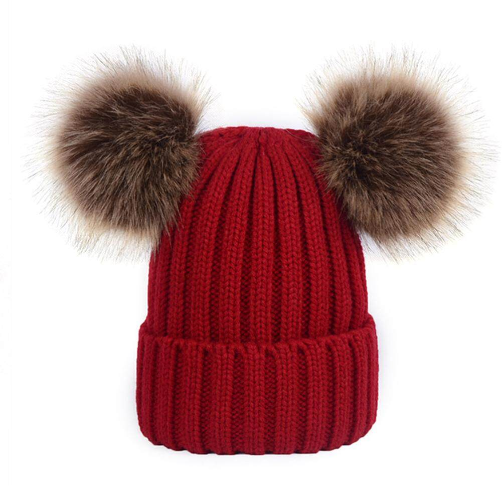 Musim Dingin Hangat Double Bulu Gelembung Pom Kupluk Rajut Topi (untuk Ibu)-Intl