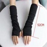 Winter Wrist Arm Hand Warmer Knitted Long Fingerless Gloves Mitten For Women Dark Grey - intl