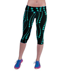 8e3e187794 (Free Shipping Fee)Women Capri Leggings High Waist Floral Printing Cropped Yoga  Pants Fitness
