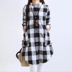 Nữ Phong Cách Đầm Vải Lanh Cotton Rời Đen Trắng Chequered Áo Sơ Mi Tay Dài Cao Cấp Áo