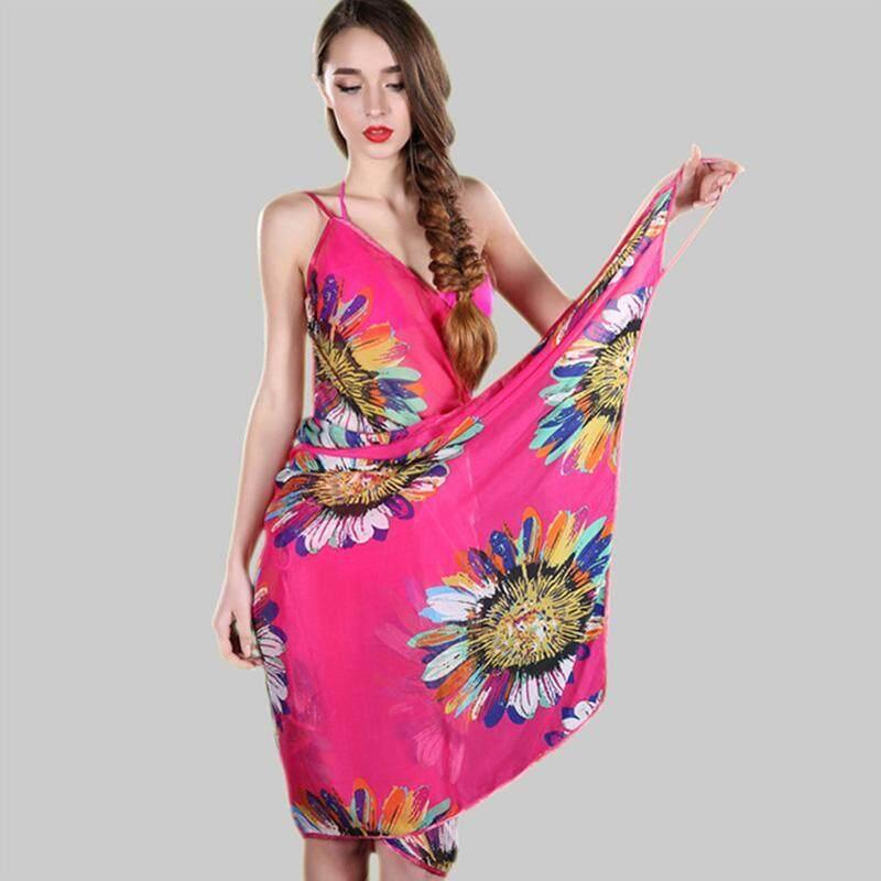 ... Pearl Button Floral Print Sunscreen Source · Boboca Women Chiffon Flower Printed Swimwear Bikini Cover Up Sarong Beach Shawl Scarves Stole Dress Hot