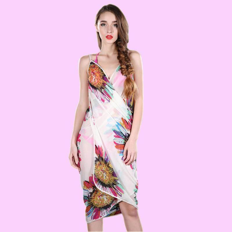 ... Boboca Women Chiffon Flower Printed Swimwear Bikini Cover Up Sarong Beach Shawl Scarves Stole Dress Hot