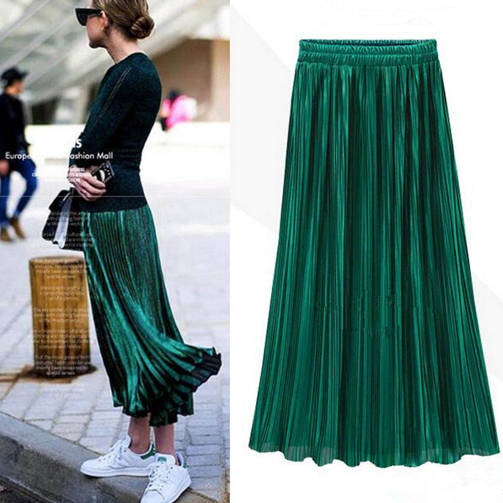 Price Comparison For Women Double Layer Pleated Retro Long Maxi Dress Elastic Waist Skirt Intl