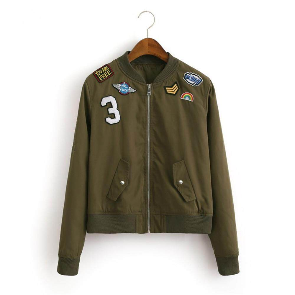 Women Fashion Bomber Jacket Coat Flight Suit Casual Jacket Women Embroidered Patch Coat