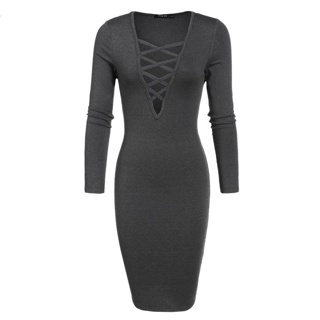 Wanita Fashion Seksi Dalam V Lengan Panjang dengan Leher Peregangan Bodycon Pensil Dress Evening Party Perban