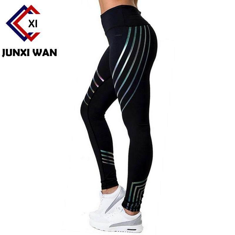 9098ebcf72c0ee Women Fitness Yoga Pants Workout Leggings Slim High Waist Elastic Geometry  Printing Sport leggins Hip Push