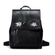 cdf998d20717 Women Floral Backpack Flowers Embroidery Backpacks Blue PU Leather Bag  Teenage Girls School Bags Vintage Solid