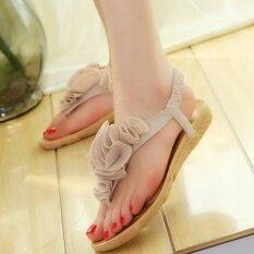 3f3bc3c7f7385e Women Flower Summer Bohemia Sweet Sandals Clip Toe Sandals Beach Shoes