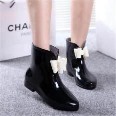 Women Heel Rubber Rain Shoes Ankle Boots Waterproof Wellies Wellington Boots Black By Qiaosha.