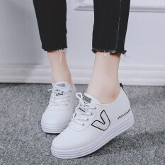 Women High Wedge Casual Shoes Increased Height Woman Platform Sneakers-White By Bing Business.