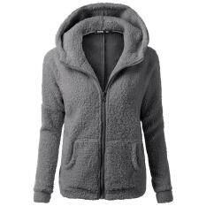 Women Hooded Sweater Coat Winter Warm Wool Zipper Coat Cotton Coat Outwear By Lvshoping.
