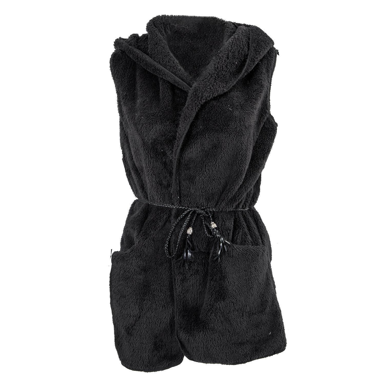 Wanita Hoodie Domba Tiruan Bulu Panjang Rompi Jaket Tanpa Lengan Rompi Mantel Pakaian .