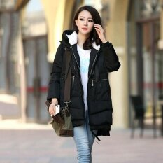 Women Jacket Hoody Long Style Warm Winter Cotton-Padded Down Coat Plus Size Zipper Loose Jackets M~5xl Wc0450 Black By Hee Fly.
