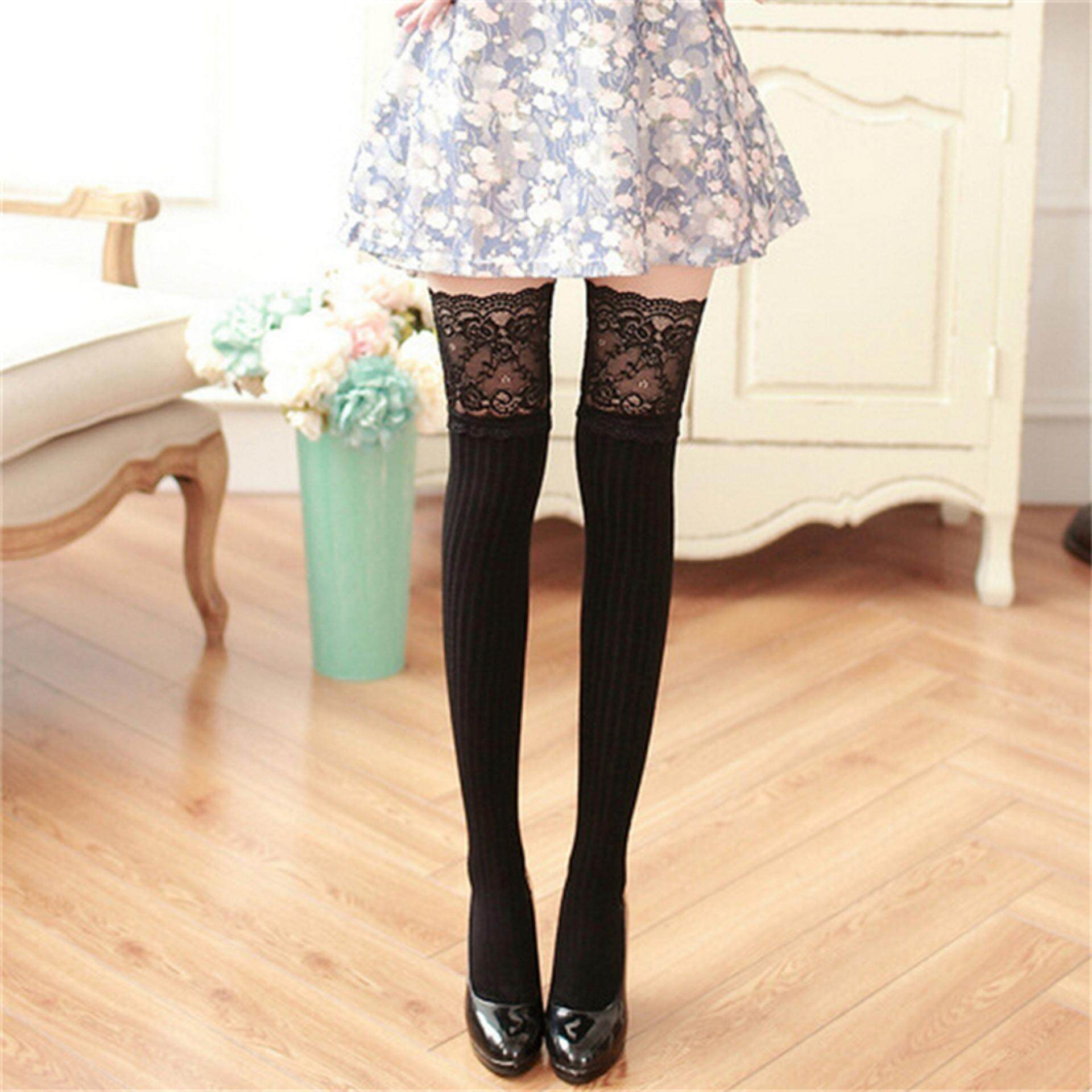 266fefd538f Women Knitting Lace Cotton Over Knee Thigh Stockings High Socks Pantyhose  Tights Black - intl