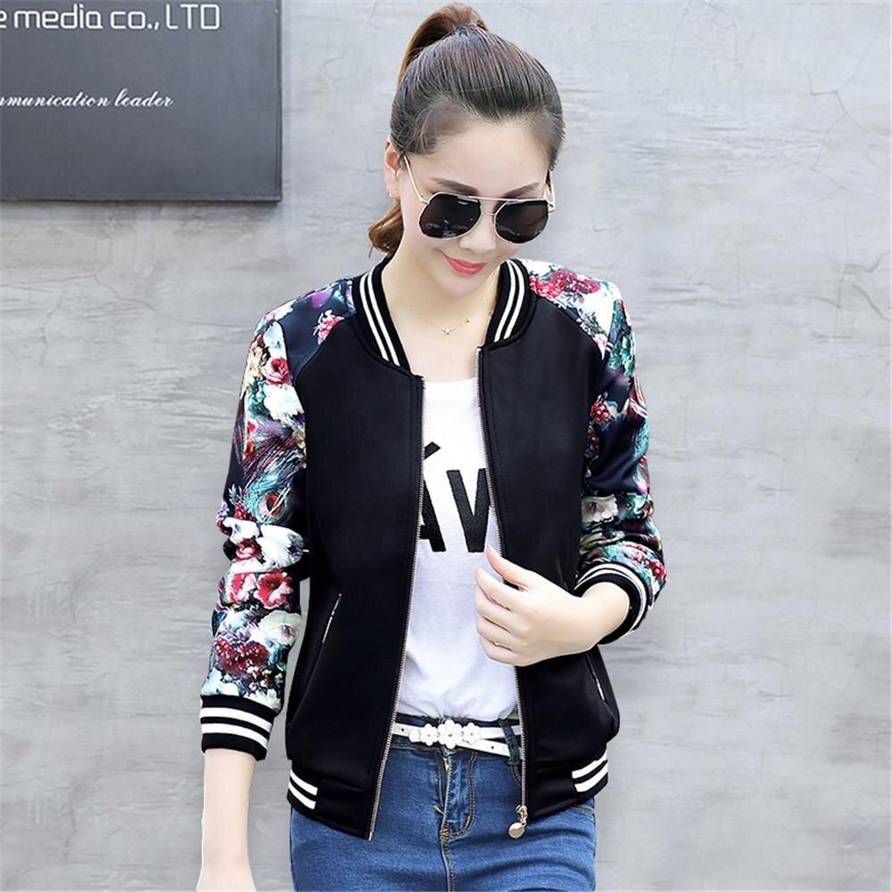 02a75ee0f8a09 Women Korean Style Baseball Coat Flower Printed Jacket Casual Slim Coats  Jackets
