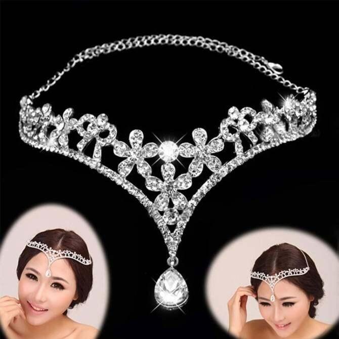Women Ladies Bridal Bridesmaid Wedding Party Decorative Crystal Rhinestone Pendant Heart Crowns Chain Jewelry Head Wear