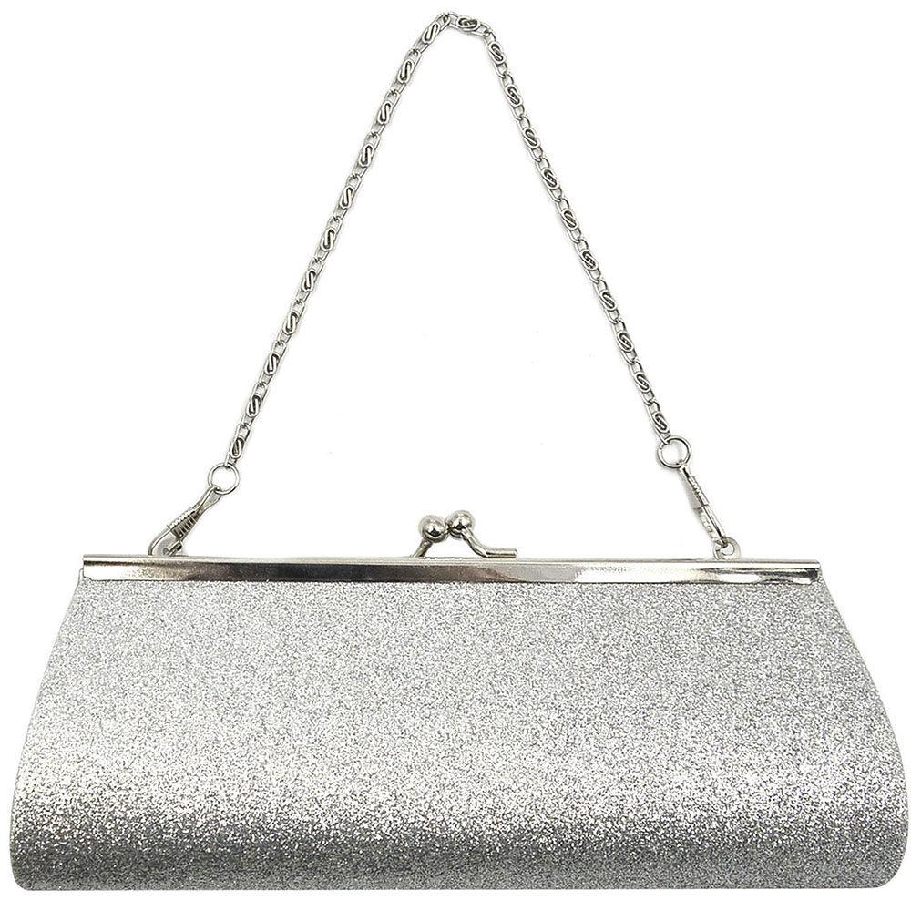 4020f95d451 Women Ladies Girls Sparkly Glitter Clutch Handbag Wallet Wedding Bridal  Prom Party Evening Purse Sliver -