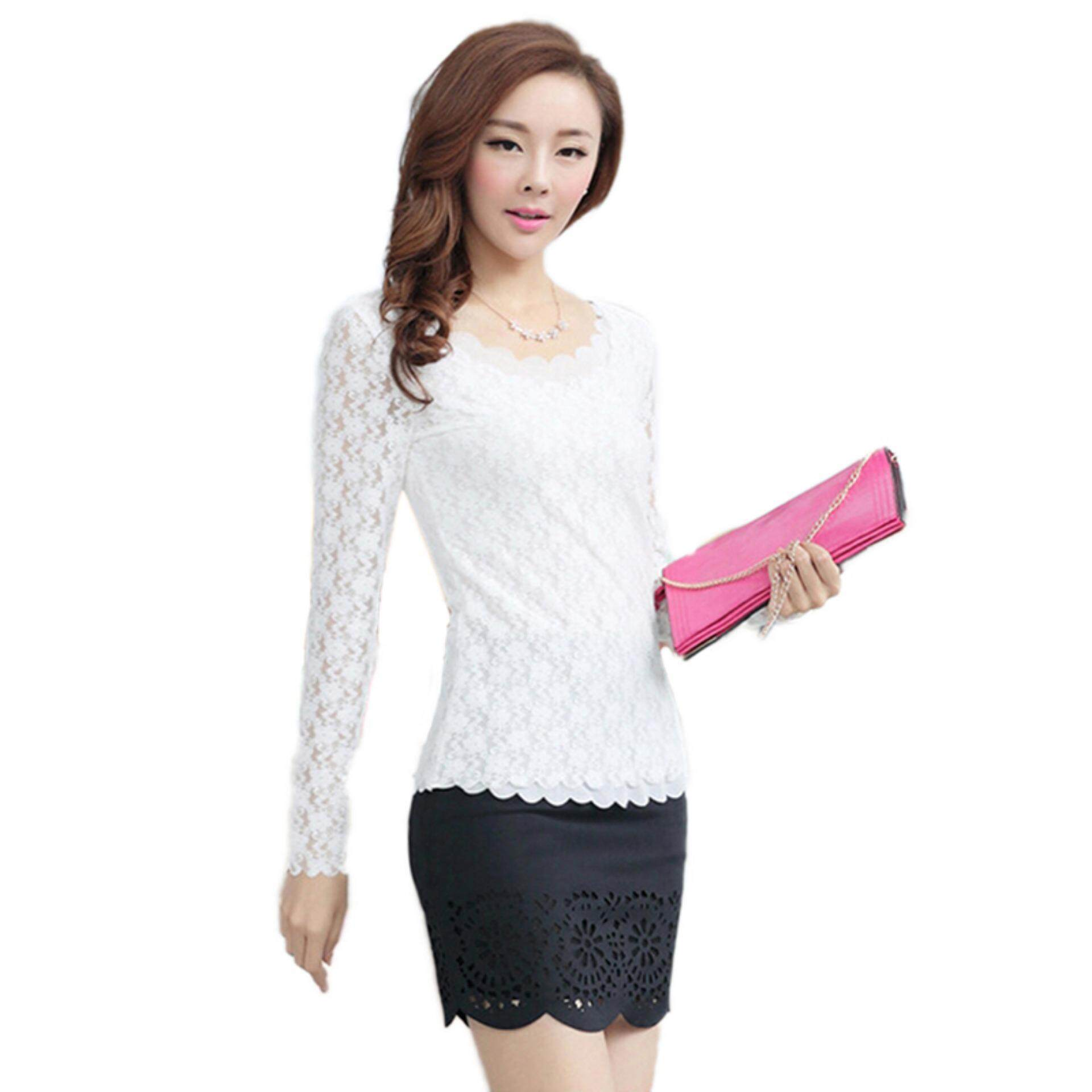 Buy Sell Cheapest Floral T Best Quality Product Deals Indonesian Lover Graphic Shirts Putih L Women Lady Slim Lace Long Sleeve Shirt Blouse Top White Intl