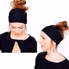 Women Lady Wide Sports Yoga Headband Stretch Hairband Elastic Hair Band  Turban (Black) 0b45cb4e053