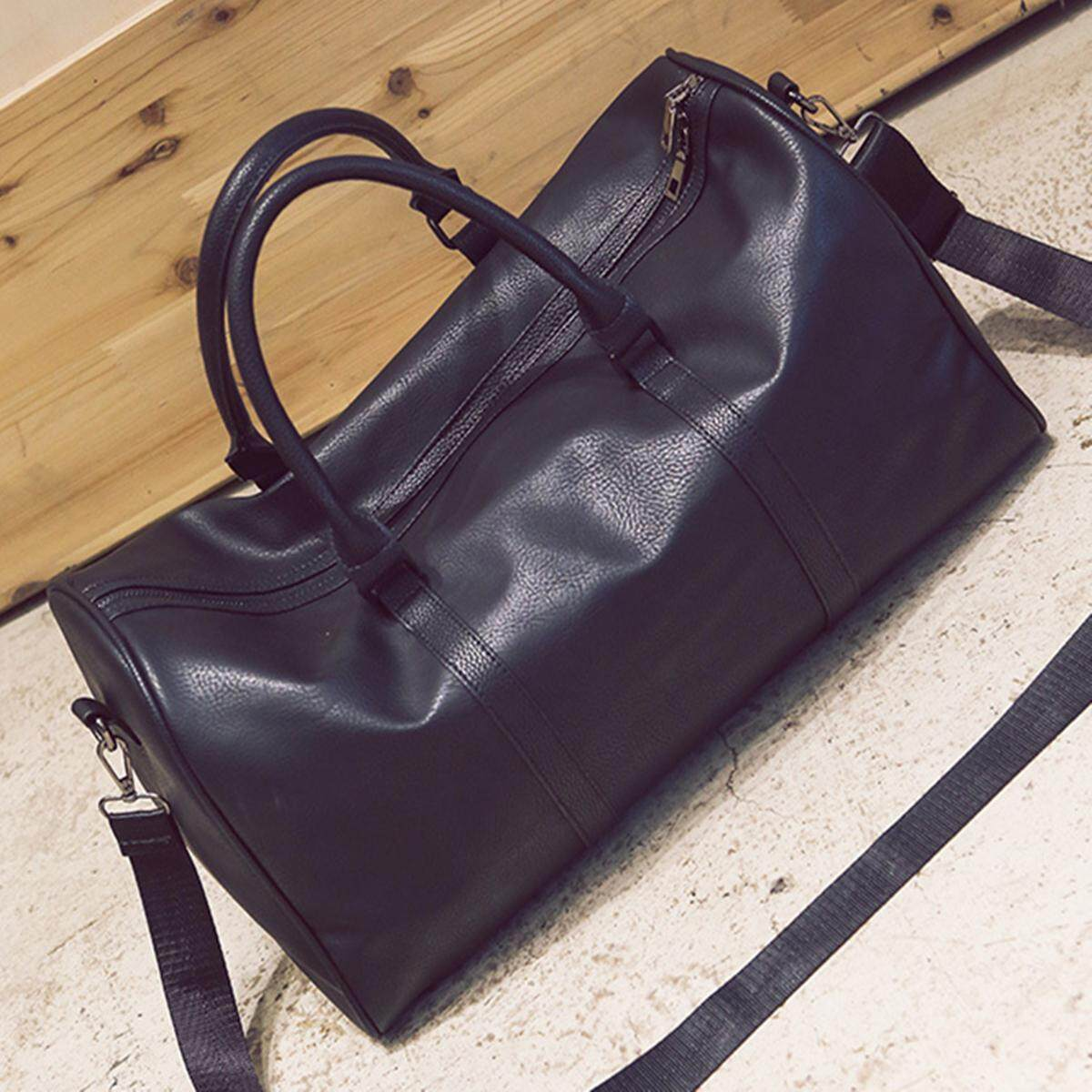Women Men Leather Outdoor Large Gym Duffel Bag Travel Weekend Overnight Luggage Black - Intl By Paidbang.