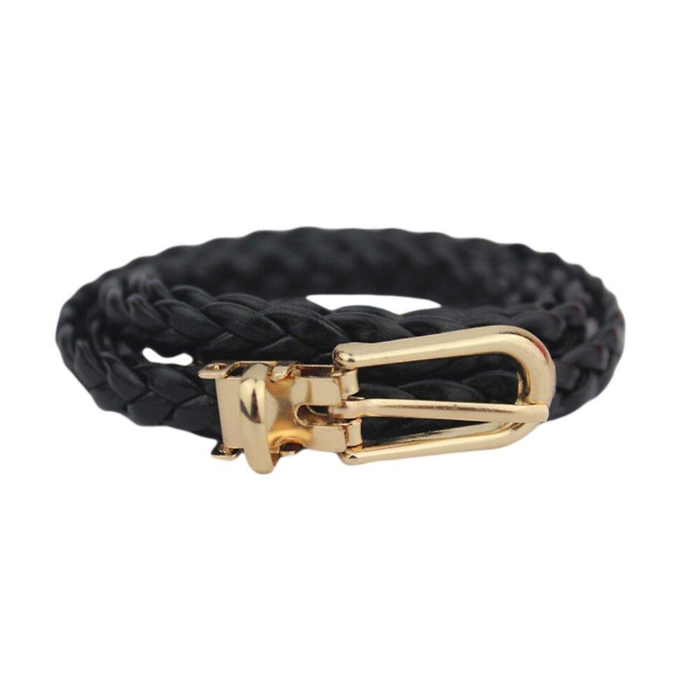 ffd51e7f93160 Women Metal Fashion Skinny Leather Knit Belt Dress Waistband Black - intl