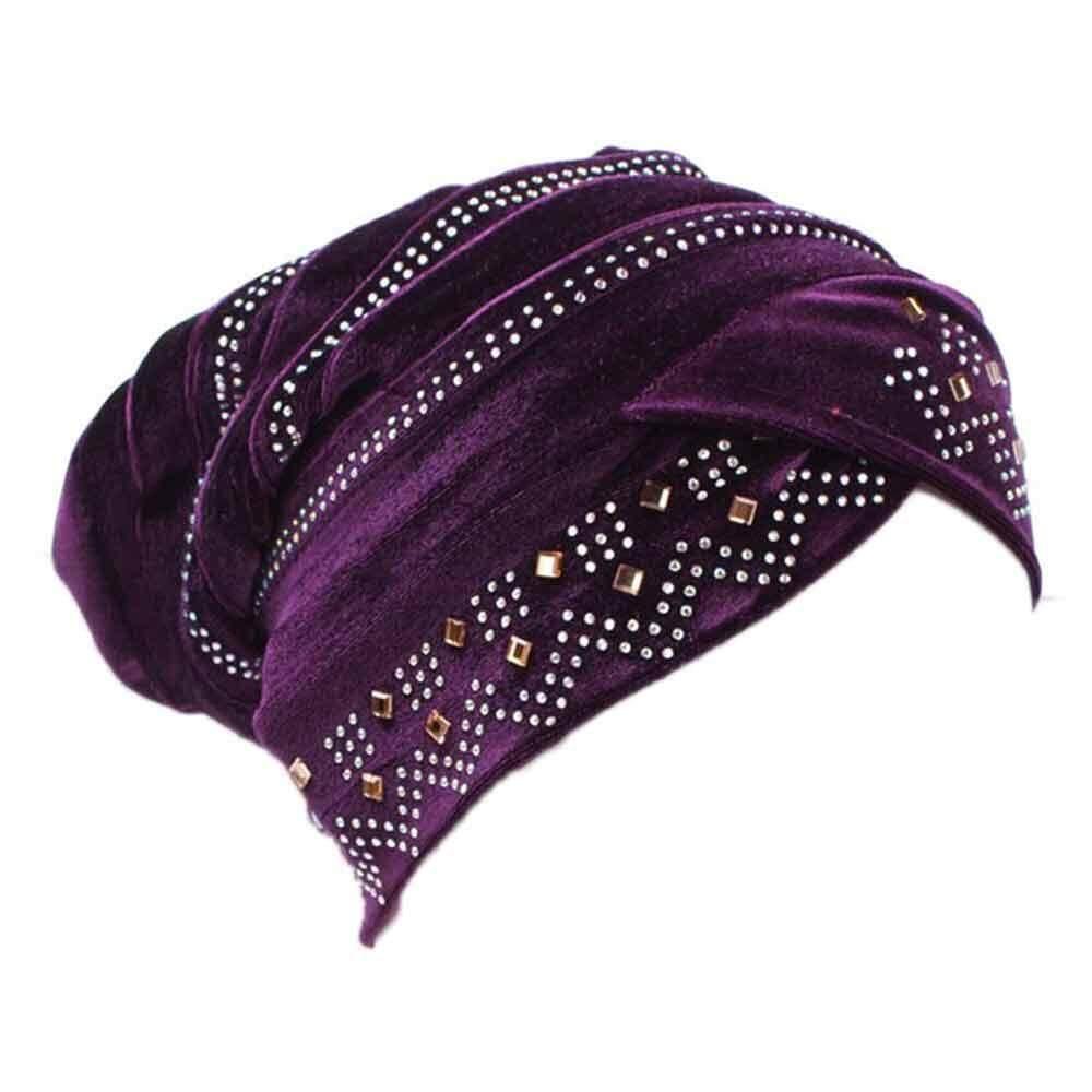 Wanita Muslim Stretch Turban Topi Beludru Rambut Rontok Topi Kupluk Wanita- Intl 88e7d21c3d