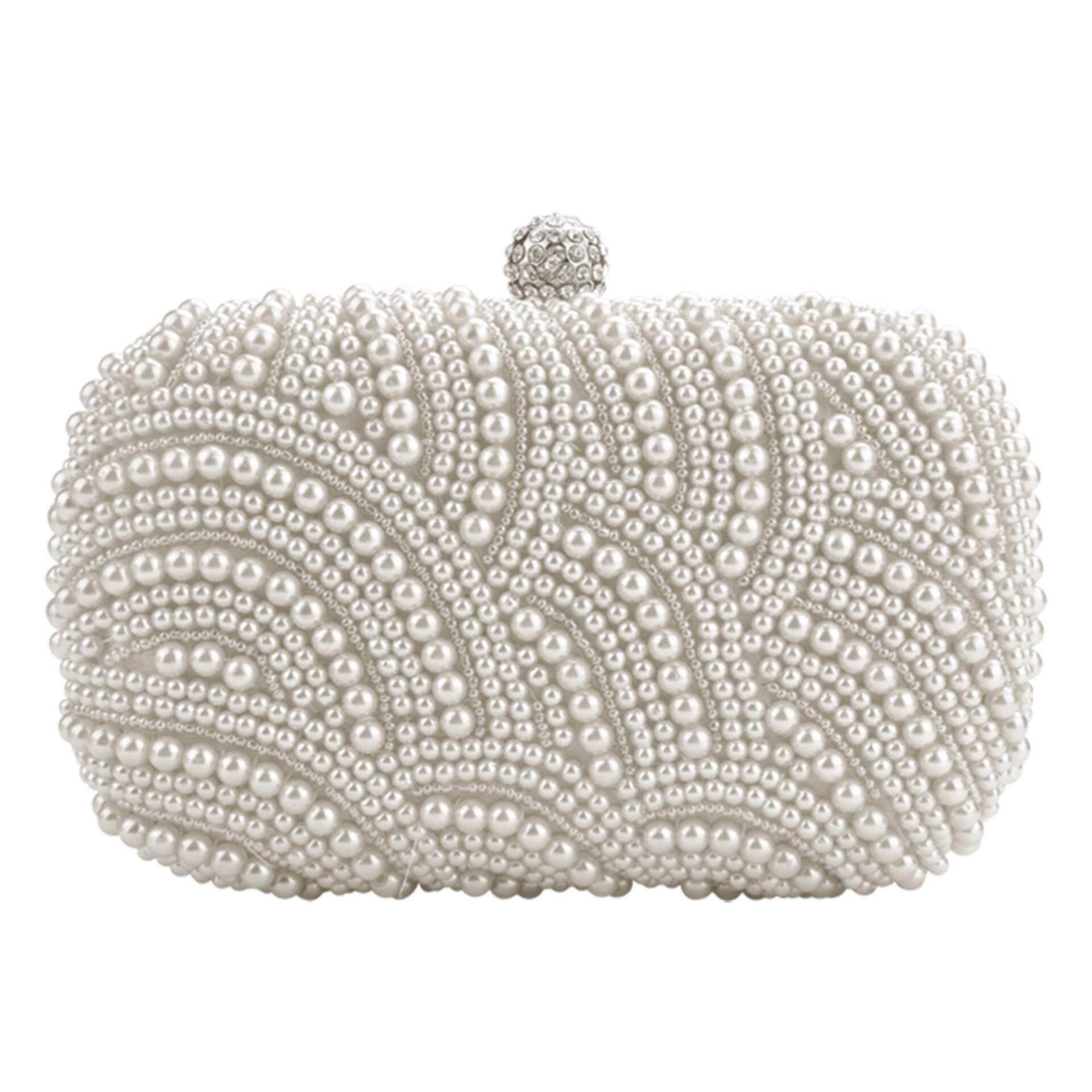 Women Party Bridal Clutch Bag Pearl Beaded Handbag Wedding Evening Purse White - intl