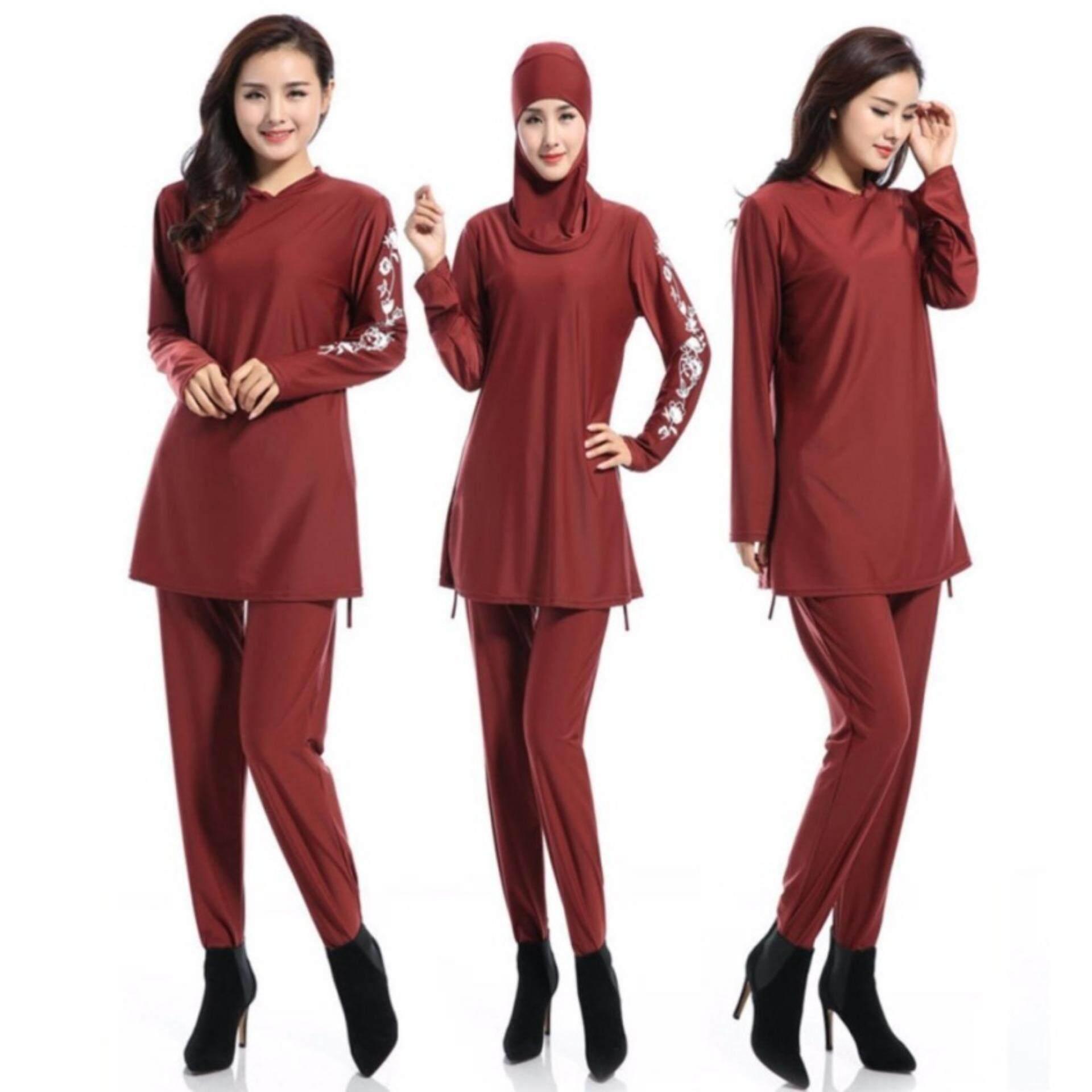 1364466e831c1 การส่งเสริม Women Plus Size Printed Floral Muslim Swimwear Fashion Muslimah  Islamic Swimsuit Swim Surf Wear Sport Clothing Red ซื้อที่ไหน - มีเพียง  ฿801.00