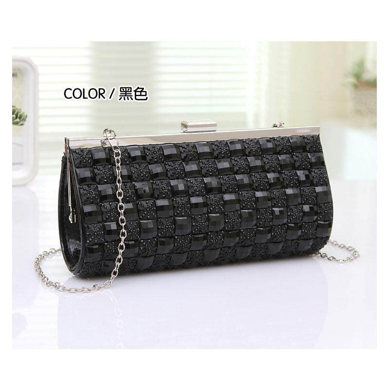 Women PU Clutch Bag Rhinestone Evening Purse Ladies Day Clutch Chain Handbag Bridal