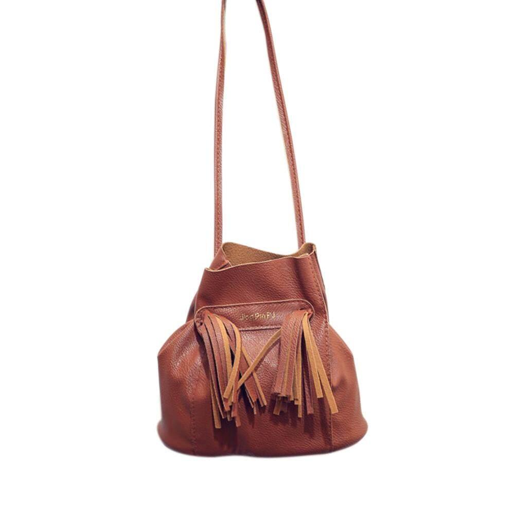 Usthink Kulit PU Wanita Tas Selempang Fashion Vintage Serut Tas Keranjang Tas dengan Rumbai Kulit
