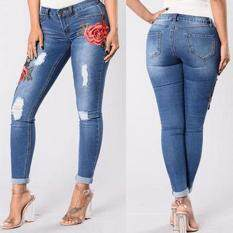 Price Women Ripped Jeans Flower Embroidered High Waist Slim Fit Denim Pencil Trousers China