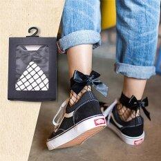 Women Ruffle Bow Fishnet Ankle Socks Mesh Lace Fish Net Short Socks Black 20cm