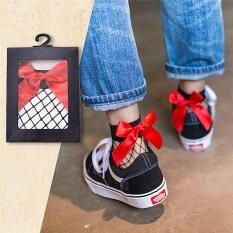 Women Ruffle Bow Fishnet Ankle Socks Mesh Lace Fish Net Short Socks Red 20cm