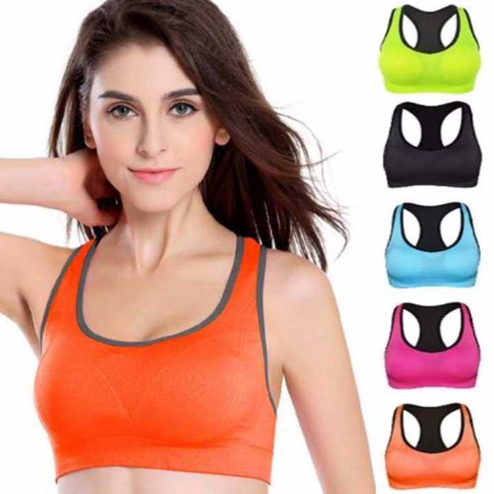 Women Seamless Yoga Sports Bra with Removable Pad and Fashion Back Design (Orange)