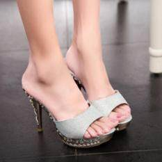 Women Slipper Diamond Decoration Cup Type Heel High Source · Women Slipper Fashion Carved Cup Type Heel High Heeled Shoes Silver