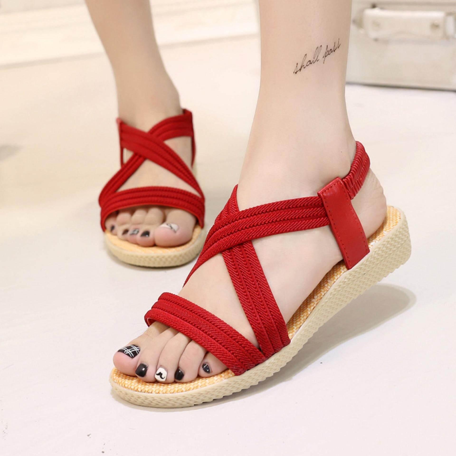 f3cb893ed8f516 Women Summer Flat Sandals Shoes Open Toe Beach Flip Flops Slipper Sandal-red  - intl