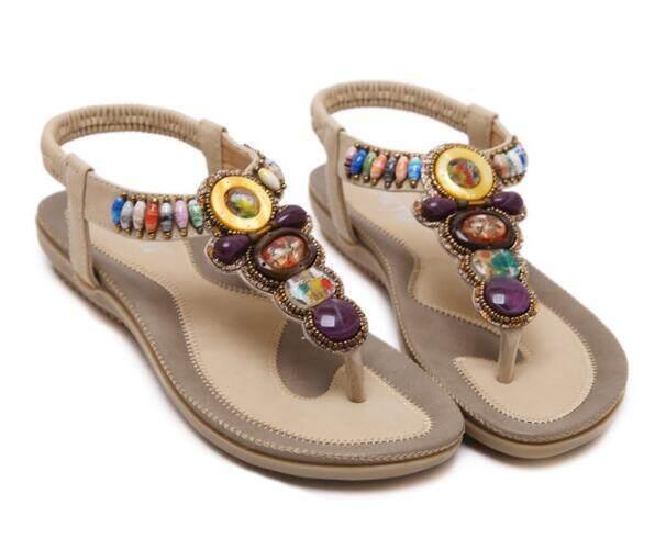 6aa18f9decda4d Women summer Sandals shoes woman Flat shoes New Rhinestone leisure female  slippers Diamond Bohemian String Bead