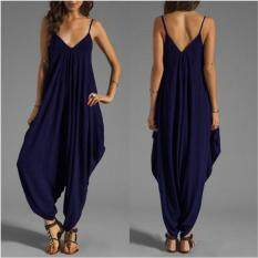 Women V Neck Camisole Thin Loose Strap Strappy Baggy Jumpsuit Playsuit Ny/s By Joomia.