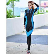 Women Wetsuit Full Body Swimsuit Long Sleeve Snorkeling Diving Full Wet Suit Jellyfish Swimwear Spring Summer – Blue – intl