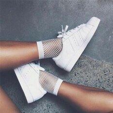 Women White Fishnet Ankle High Socks Lady Mesh Lace Fish Net Short Socks White One Size