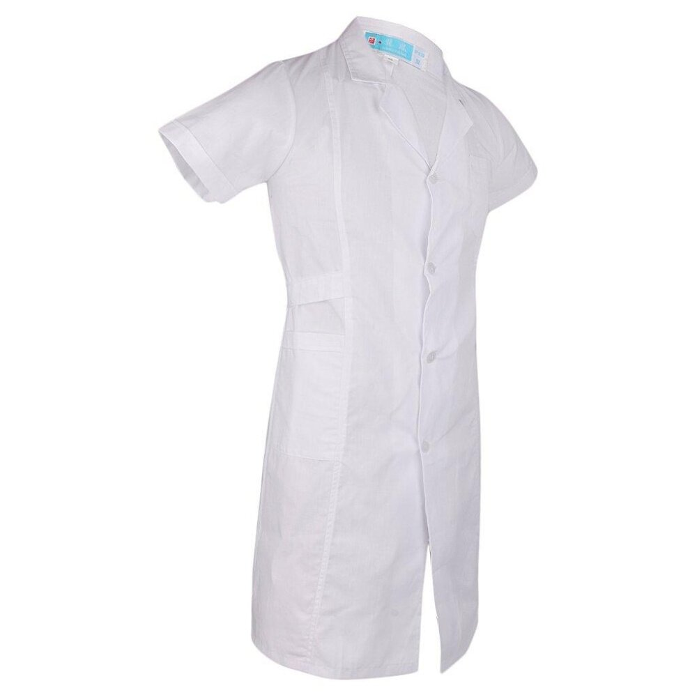 Women White Scrubs Lab Coat T-shirt Medical Nurse Doctor Uniform Lapel Neck  Short Sleeve 780296f0e6