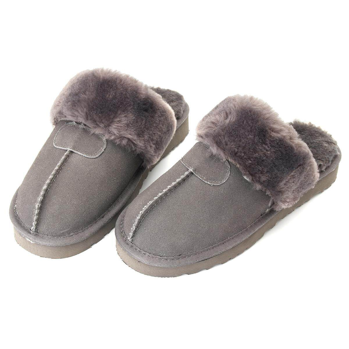 206452e86d981 Women Winter Natural Sheepskin Fur Slippers Warm Indoor Wool Home Shoes  Soft New - intl