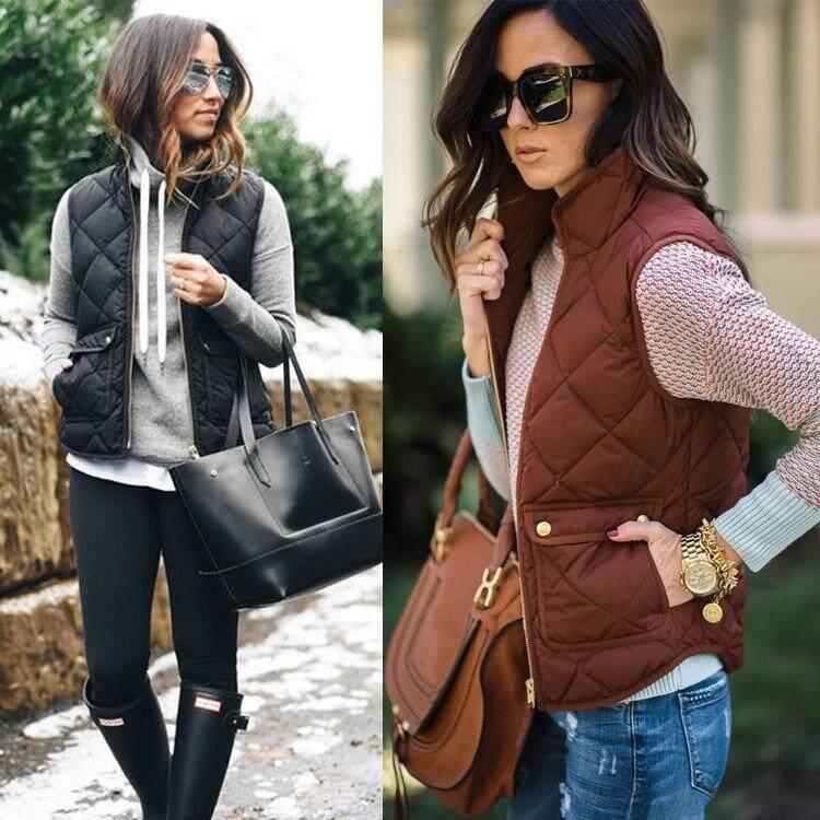 Wanita Musim Dingin Ramping Bulu Hangat Parka Trench Mantel Jaket Tanpa Lengan Rompi Waistcoat (Coklat)-Internasional